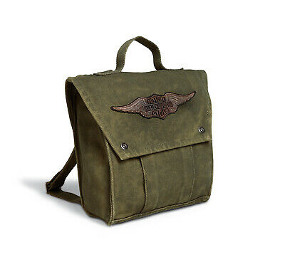 Harley-Davidson Winged Logo Canvas Backpack Damen Rucksack - Olive Grün
