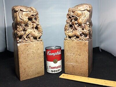 Antique Chinese Finely Carved Soapstone Dragon Chop Seal Bookends Gigantic Pair