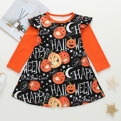 Toddler Kids Baby Girls Long Sleeve Cartoon Halloween Print Princess Party Dress