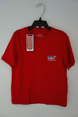 $29 NWT Vineyard Vines Toddler Boys Waving Flag Patriotic Red Shirt Size 4t