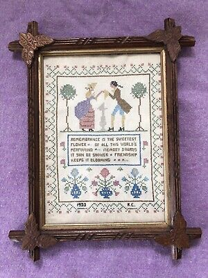 Beautiful antique 1930 needlepoints with hand carved frame with oak leaf corners