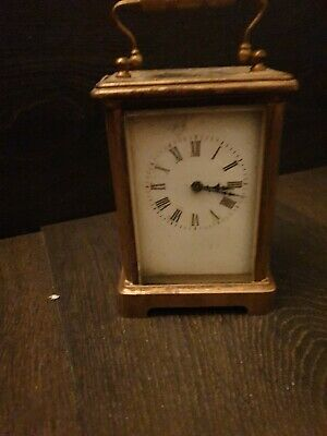 Antique French Brass & Glass 8 Day Timepiece Carriage Clock Platform Escapement