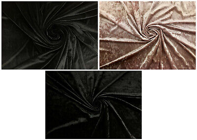 Premium Quality Smooth Crushed Velvet 4 Way Stretch Plain Velor Fabric Material