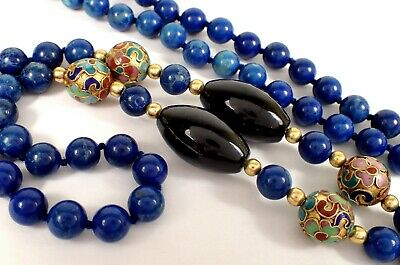 """Vtg Chinese Hand Knotted 8mm Natural Lapis Lazuli Cloisonne Beaded 31"""" Necklace"""