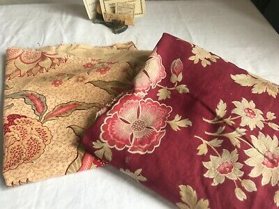 2pc Antique French Fabrics Furnishing Panels Red & Blue Floral Remnants projects