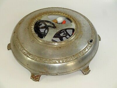 """Vintage Cast Iron Ornate Round Lighted Silver Floor Lamp Base Stand 12"""" Diameter"""