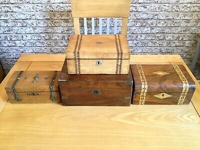 4 Antique Boxes.Writing Slope.Tunbridgeware Jewellery Box.Tea Caddy. Inlay Box.