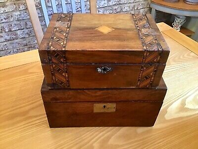 2 Victorian Boxes. Writing Slope And Inlay Jewellery Box. For Restoration.