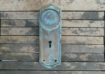 VTG Antique DOOR KNOB & BRASS BACKPLATE Country Farmhouse Cottage OLD Rustic
