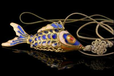 Old Chinese Cloissone Cobalt Enamel Silver Articulated Fish Pendant Cord D73-05