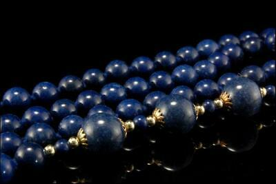 Vintage Chinese Lapis Beads Necklace  D75-06