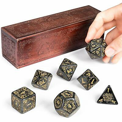 Giant Polyhedral Dice 7-Piece Set & Engraved Wooden Display Box