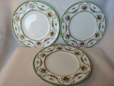 Cauldon China England Flowers and Urn Tea/Salad Set of 3 Plates Floral Garland