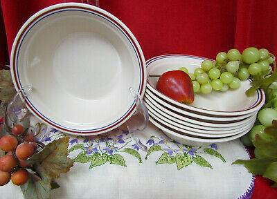 8 Corelle Abundance - Country Morning Soup Salad or Cereal Bowls Blue Maroon EUC