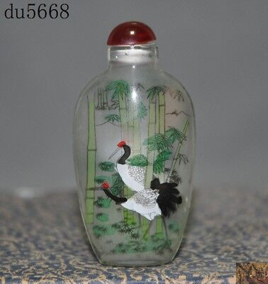 Chinese dynasty glass inside Painted Pine trees Cranes bird Statue snuff bottle