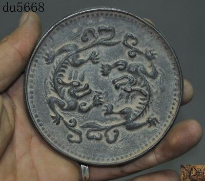 old Chinese antique pure bronze Feng Shui Exorcism Animal Dragon Bronze Mirror