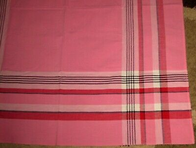 "VTG Pink/Red/Black Picnic Plaid Tablecloth Linen 37 1/2"" X 43 1/2"" EUC!"