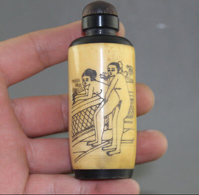 Rare Chinese Hand-carved man woman / Cattle Bone Snuff Bottle