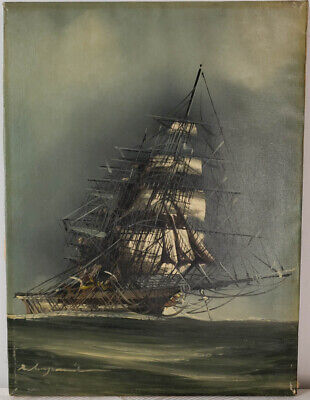 "Vtg Oil Painting on Canvas Sail Ship Seascape Unframed Art HomeDecor (16"" x 12"")"