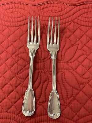 Mint  Pair CHRISTOFLE SILVERPLATE DINNER FORK: FRENCH FIDDLE & THREAD NO MONO