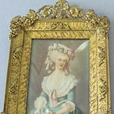 Antique Ornate Miniature Bronze Frame Portrait Painting French PRINCESS LAMBALLE