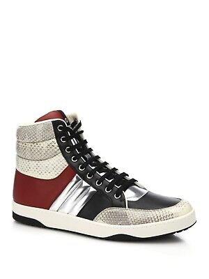 662a1c3f414 GUCCI MENS NAVY Suede High-top Sneaker W/Brb Leather Web - $300.00 ...
