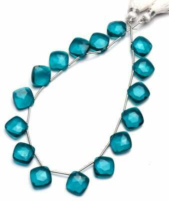 """9"""" strand natural green apatite 11 mm cushion briolettes faceted beads - sale"""