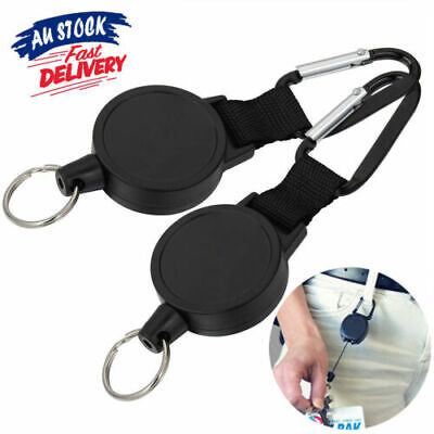 2x Retractable Stainless Steel Keyring Pull Ring Key Chain Recoil Heavy Duty NEW