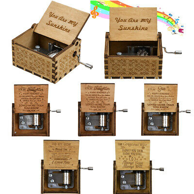 Wooden Hand Crank A Letter for Daughter Son Mom Dad You're my sunshine Music Box