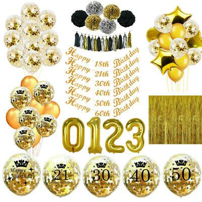 Gold Happy Birthday 18/21st/30/40/50/60th Bunting Banner Balloons Party Decor UK