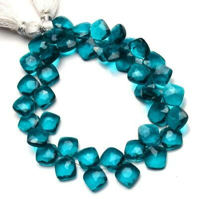 """7.5"""" strand natural green apatite? 8 mm cushion briolettes faceted beads - sale"""
