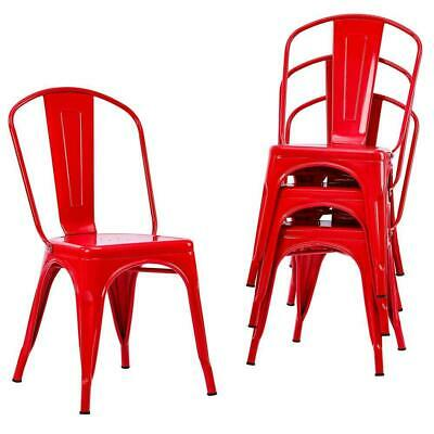4pcs Tolix Style Dining Side Chair Arm Chairs Stackable Bistro Metal Stool Red
