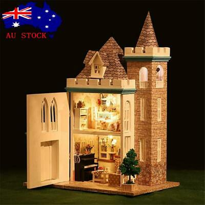 AU DIY LED Moonlight Castle Dollhouse Miniature Wooden Furniture Kit Doll House
