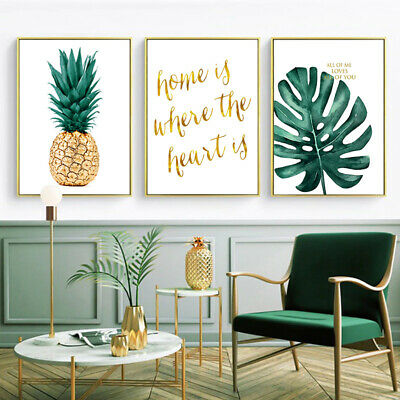 Pineapple Nordic Canvas Painting Green Plants Wall Art Print Poster Picture