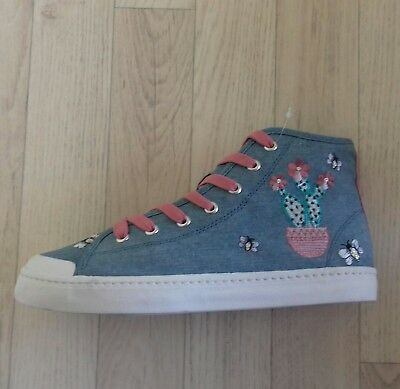 M&S 6 Girls High Top Shoes Trainers Boots Blue Denim Bees Floral Cactus BNWT