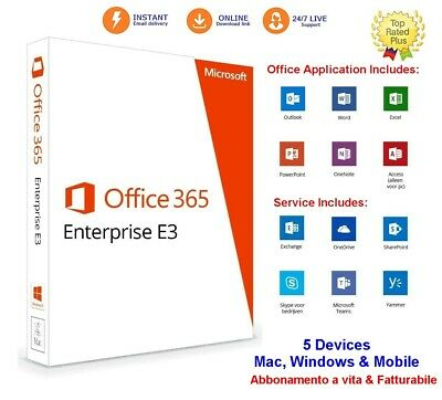 Office 365 ProPlus 2019 FATTURABILE 5 PC/MAC/TAB Conto a Vita & 5TB OneDrive