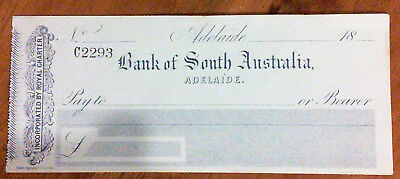 1870's Bank of South Australia - 1 x blank cheque form (last dated cheque 1874)