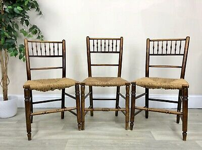 3 Antique Rush Seat And Spindle Back Dining Chairs A22