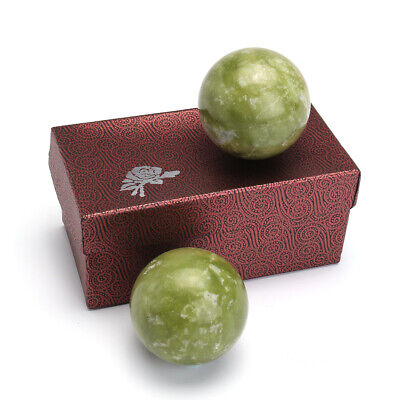 2x Chinese Health Exercise Stress Jade Stone BAODING Balls Relaxation Therapy