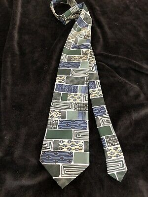 St Michael Mens Tie 100% Silk Green Vintage Retro M&S