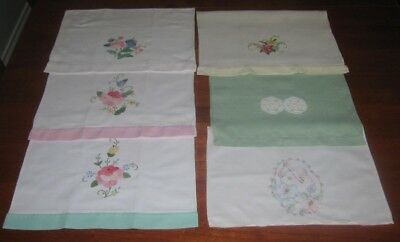 6 Vintage Embroidered & Appliqued Guest Towels ~ Cotton (B)