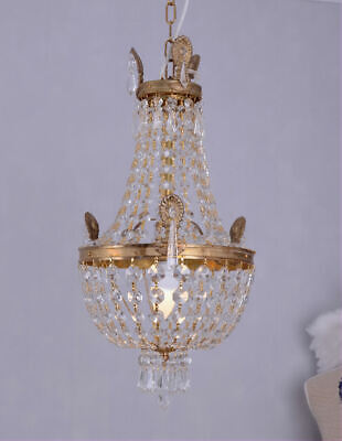 Chandelier Crystal Basket Vintage Bronze Brass Gold Castle