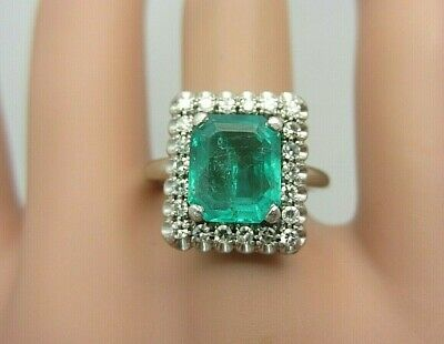 Vintage 18k White Gold 2.31 ct. Colombian Emerald and Diamond Ring 2.64 ct. TW