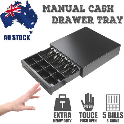 Touch Push Open Auto - 5 Bills 8 Coins Heavy Duty Manual Cash Drawer Tray POS AU
