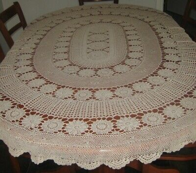 Vintage Crocheted Lace Tablecloth ~ Light Beige ~ Cotton ~ Oval