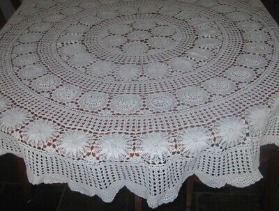 Vintage Crocheted Lace Tablecloth ~ Cream ~ Cotton ~ Round