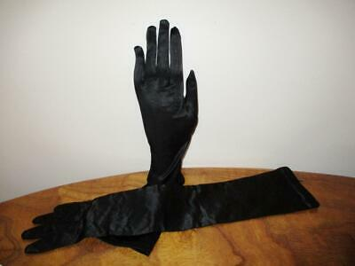 Vintage Black Long GLOVES Kayser sz 61/2 SMALL Made in Western Germany