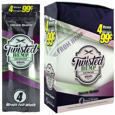 Twisted Wraps Grape Burst - Full Box 15 PACKS - Natural Rolling Papers