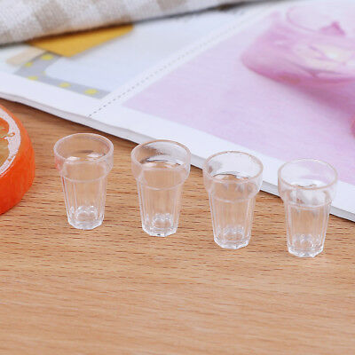 4pcs 1/12 dollhouse miniature clear wine drink cups toys kids doll accessory BB