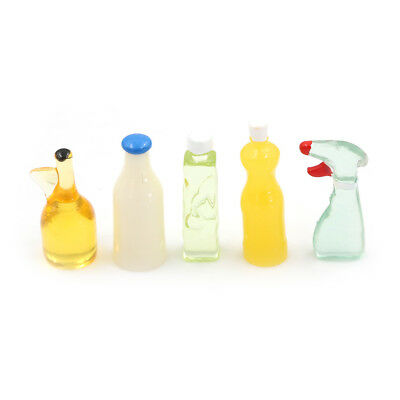 Dollhouse Miniature 1:12 Toy 5 Pieces Plastic Kitchen Bottles Height 3cm TOBB